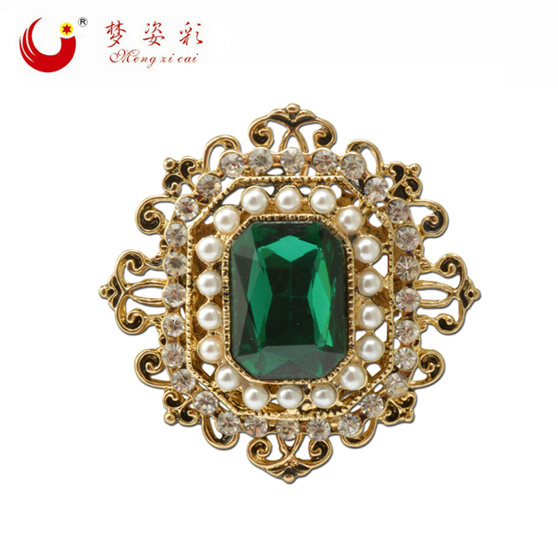 Vintage Bohemian Green Crystal Round Brooch Pin Female Retro Badge for Women Lapel Pin Rhinestone Broach X1728