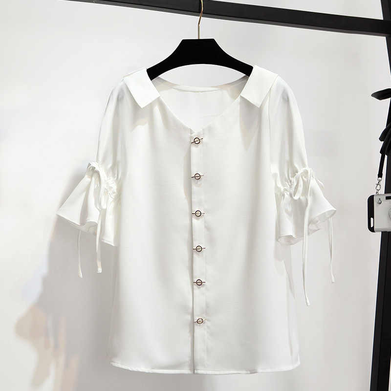 2019 Summer 2 Piece Skirt Suits Women Pearl Button Chiffon Blouse White Shirt Top + Flower Embroidery Lace Tulle Skirts Long Set