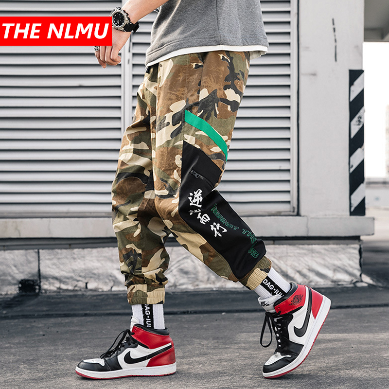 Streetwear Camouflage Joggers Pants Men 2019 Hip Hop Casual Chinese Characters Harem Pants Mens Color Camo Trousers WG256