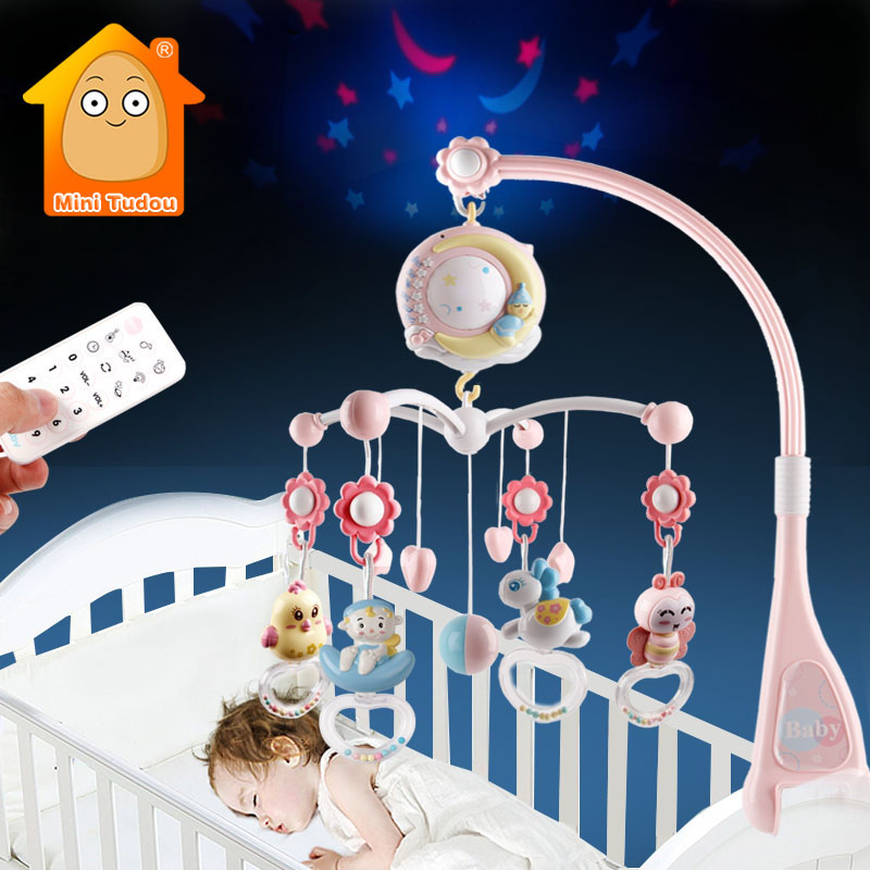 Baby Toys 0-12 Months Crib Mobile Musical Box With Holder Toddlers Soft Rattle Teether Newborn Baby Bed Toys Educational Girl