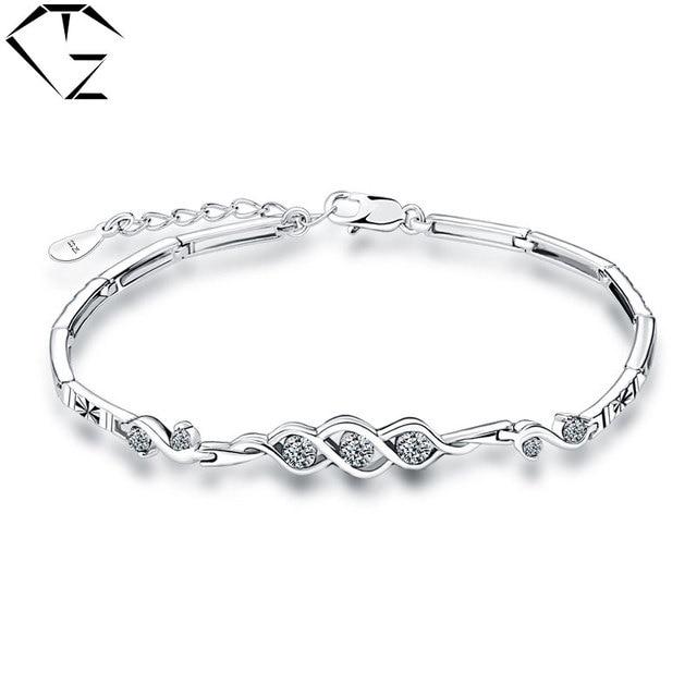 GZ 100% 925 Silver Bracelet 16.5CM+3.5cm White Purple Crystal S925 Solid Silver Bracelets for Women Jewelry pulseras mujer