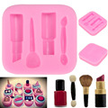 Cosmetics Lipstick,3D Silicone Cooking Tool Chocolate Cake Fondant Mold Cake Decoration Tool