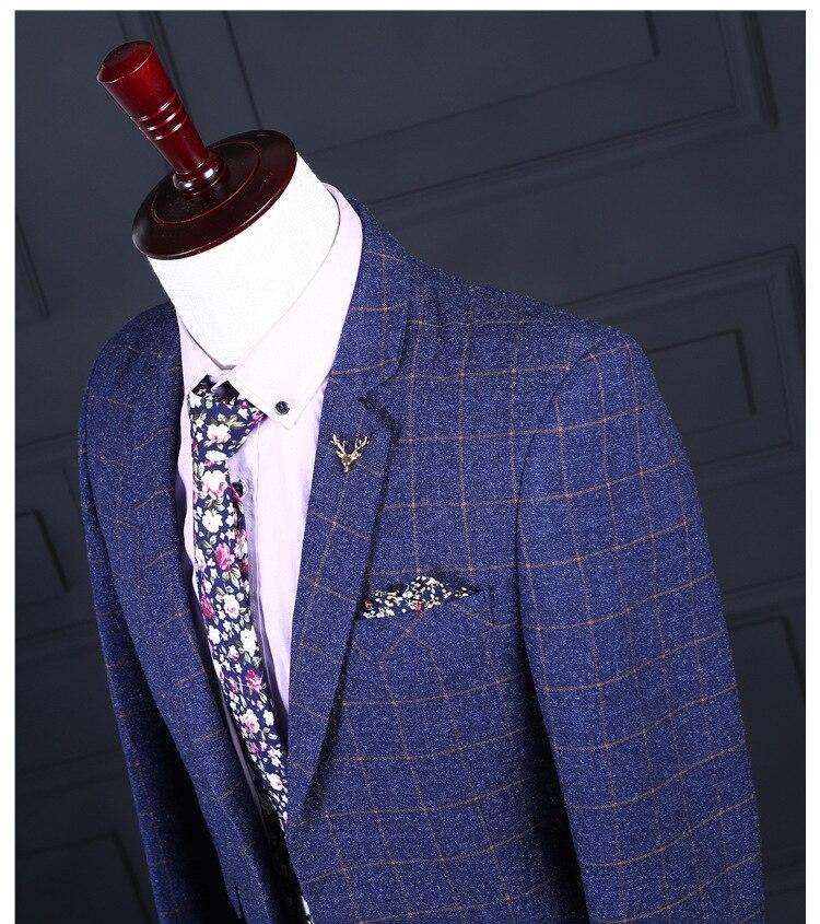 Slim Casual Blue Parti Gilet Cd50 Printemps Marié Marque Fit Hommes Grille Bal Automne De Nouvelle Pantalon Costume Pour Homme Mariage veste pwO6qRp
