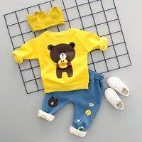 Baby Boys Girls Clothing Set Bear Print Winter Autumn Thick Warm Tracksuits Kids Sport Suit Set