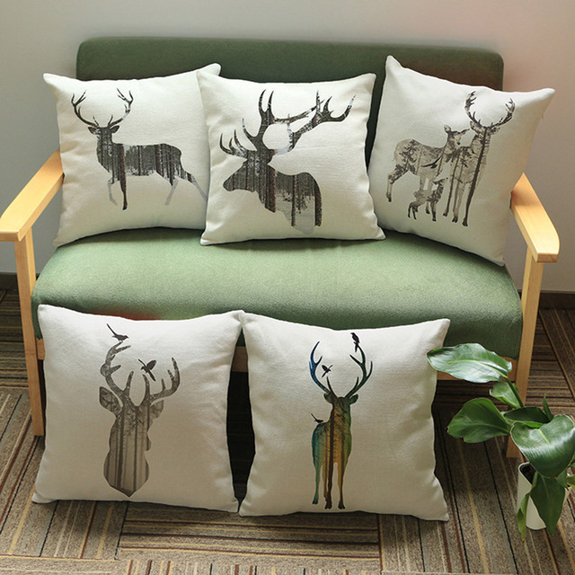 Christmas Reindeer Head Home Decorative Sofa Throw Pillow Couch Cushion Cover Cream Color Linen Deer Animal