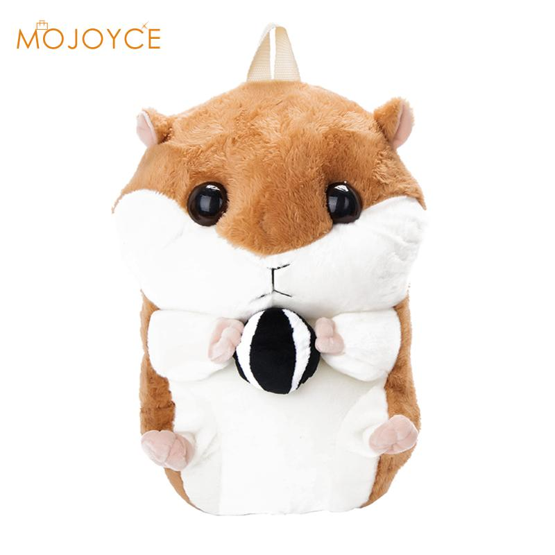 2017 New Cute Plush Hamster Backpacks Toy Schoolbag Good Quality Cartoon Kindergarten Kid Doll Animal Backpack For Teenage Girls children s pillow toys fat hamster doll plush guinea pig toy super cute good quality genuine