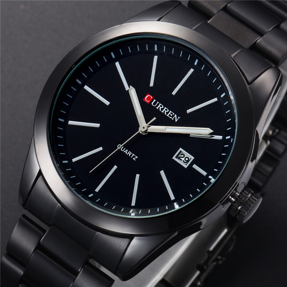 CURREN Classic Black Business Men Watch Big Dial Full Steel Male Clock Display Date Waterproof Hodinky Relogio Masculino