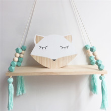 Nordic Style Wooden Bead Plywood Hanging Shelf Kid's Room Dolls Storage Display Rack Bedroom Wall Decorative Stand 6 Colors