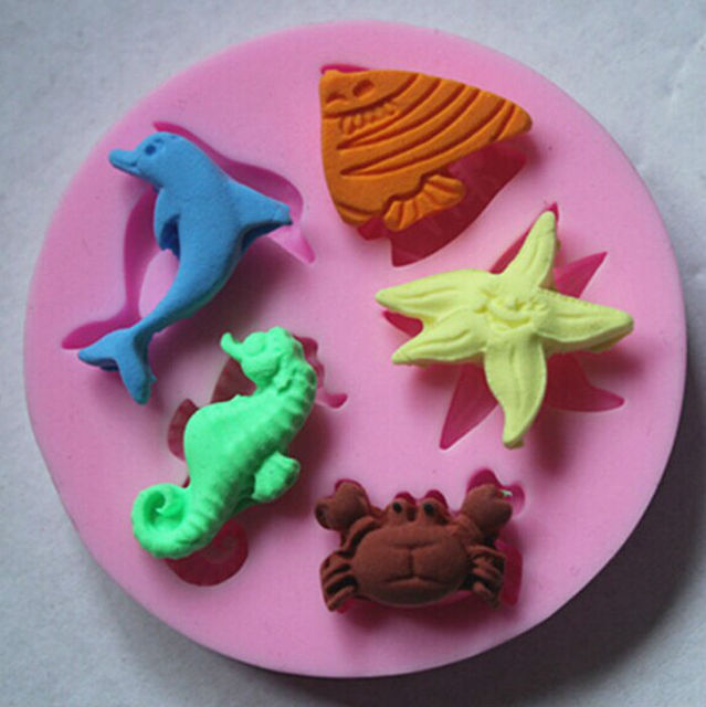 Cake Decorating Dolphin Fish Starfish Crab Hippocampus Silicone Chocolate Mould Fondant Design Molds Free