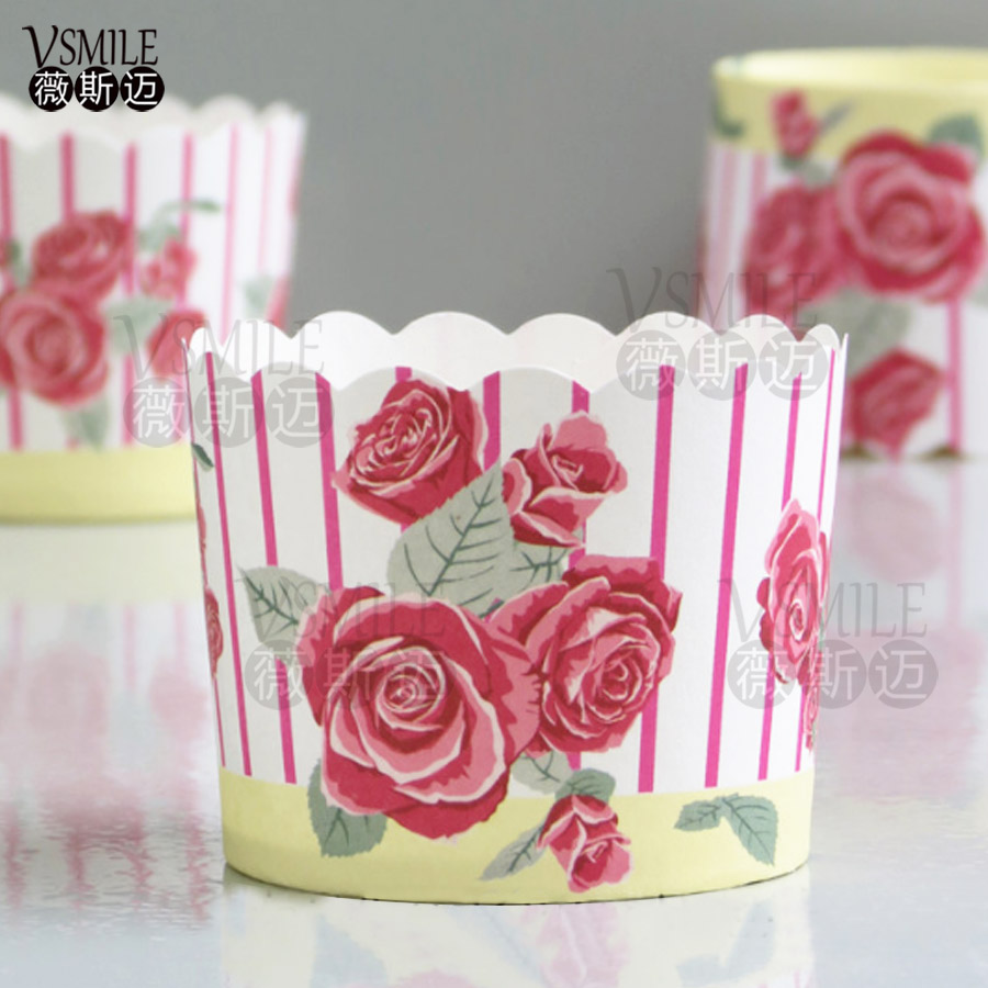 Big size Hot Sale 50PCS/bag beautiful Pink Rose flowers Paper Cake ...
