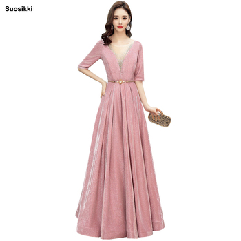 2019 V-nec Evening Dress prom gowns Formal Party dress vestido de festa Backless Elegant Sequin robe longue
