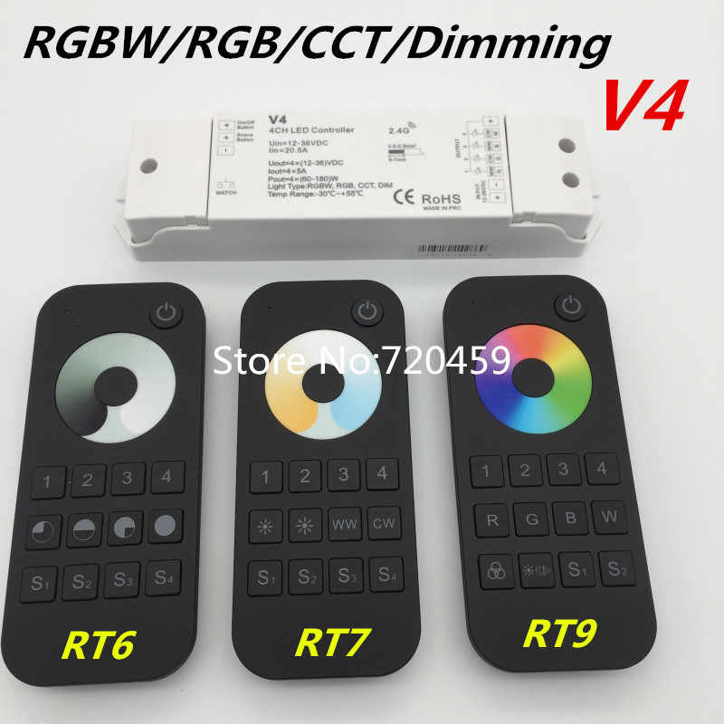 RGBW/RGB/CCT/Dimming+2 4GHz Wireless RF Remote Controller 4 Channel LED RF  Controller for RGB/RGBW LED Strip Light RGB+CCT V5