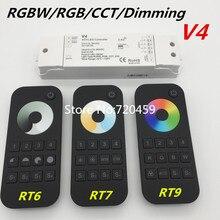 Controlador remoto RF inalámbrico RGBW/RGB/CCT/Dimming + 2,4 GHz, controlador RF de 4 canales para LED RGB/RGBW, tira de luz LED RGB + CCT V5