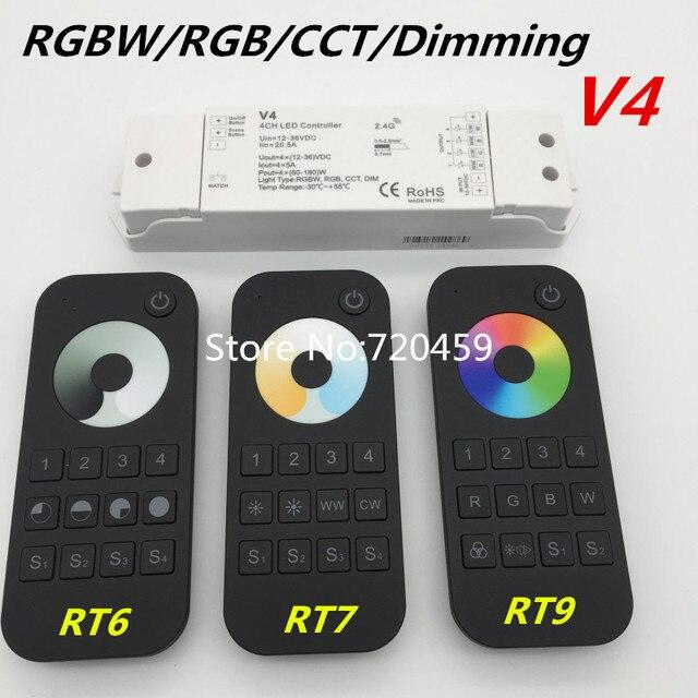Rgbw/rgb/cct/디밍 + 2.4 ghz 무선 rf 원격 컨트롤러 4 채널 led rf 컨트롤러 rgb/rgbw led 스트립 빛 rgb + cct v5