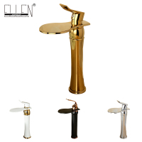 Bathroom Products Soild Brass Gold Finish Sink Faucet Single Lever Black Waterfall Tap Tall Water Mixer