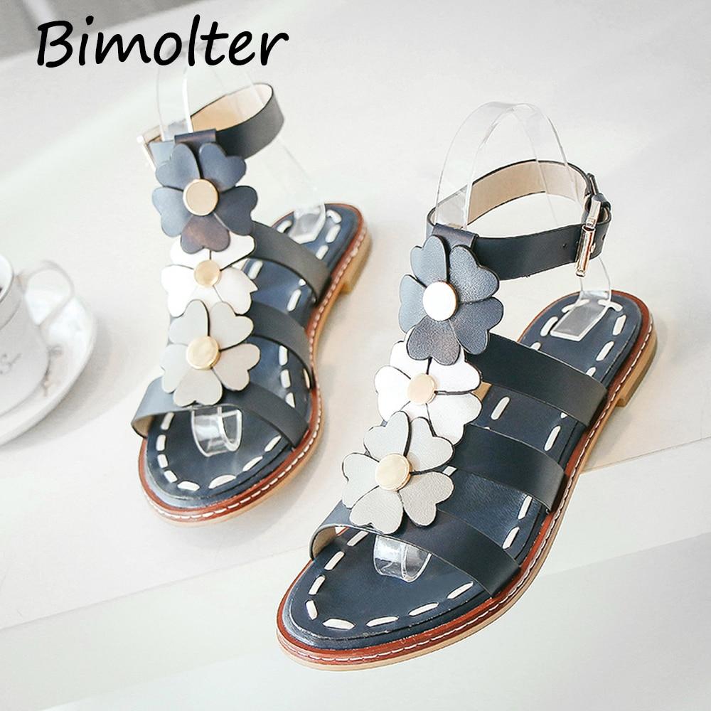 Bimolter Original Flowers Women Sandals Design Flats Heel Shoes Genuine Leather Sandals Open Toe Sandalias zapatos mujer FC045