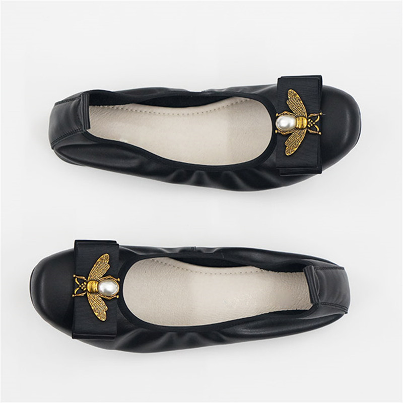 US $39.88 40% OFF|Genuine Leather Ballet Flats Women Slip On Flat Shoes Brand Baleriny Woman Soft Heel Ballerina Flats Sweet Bow Lady Loafers Shoe in