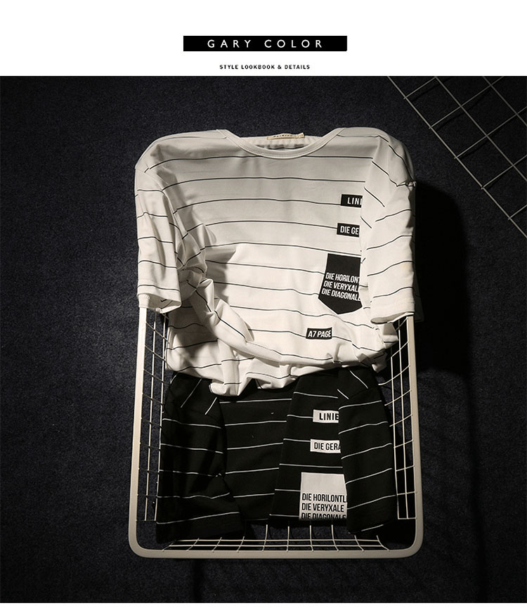 Summer T-shirt Men's Short-sleeved Fashionable Half-sleeved Round-collar Slim Men's Stripe Half-sleeved Clothes MW51 8