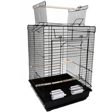 "23"" Bird Cage Pet Supplies Metal Cage with Open Play Top Black(China)"