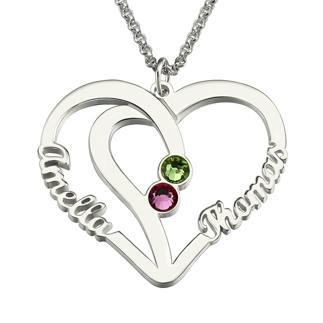silver dual big set little cz necklace heart sis mom birthstone