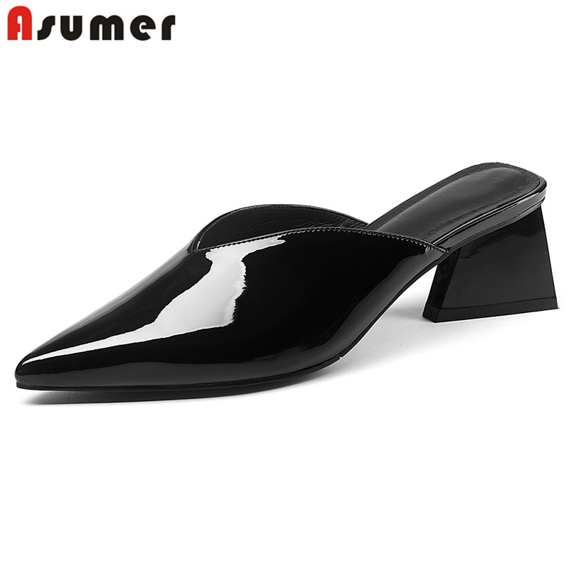 ASUMER زائد حجم 35 41 جديد جلد طبيعي أحذية النساء الصنادل 5 سنتيمتر مربع عالية الكعب الصيف النساء البغال أزياء السيدات اللباس حذاء-في الكعب المتوسط من أحذية على  مجموعة 1