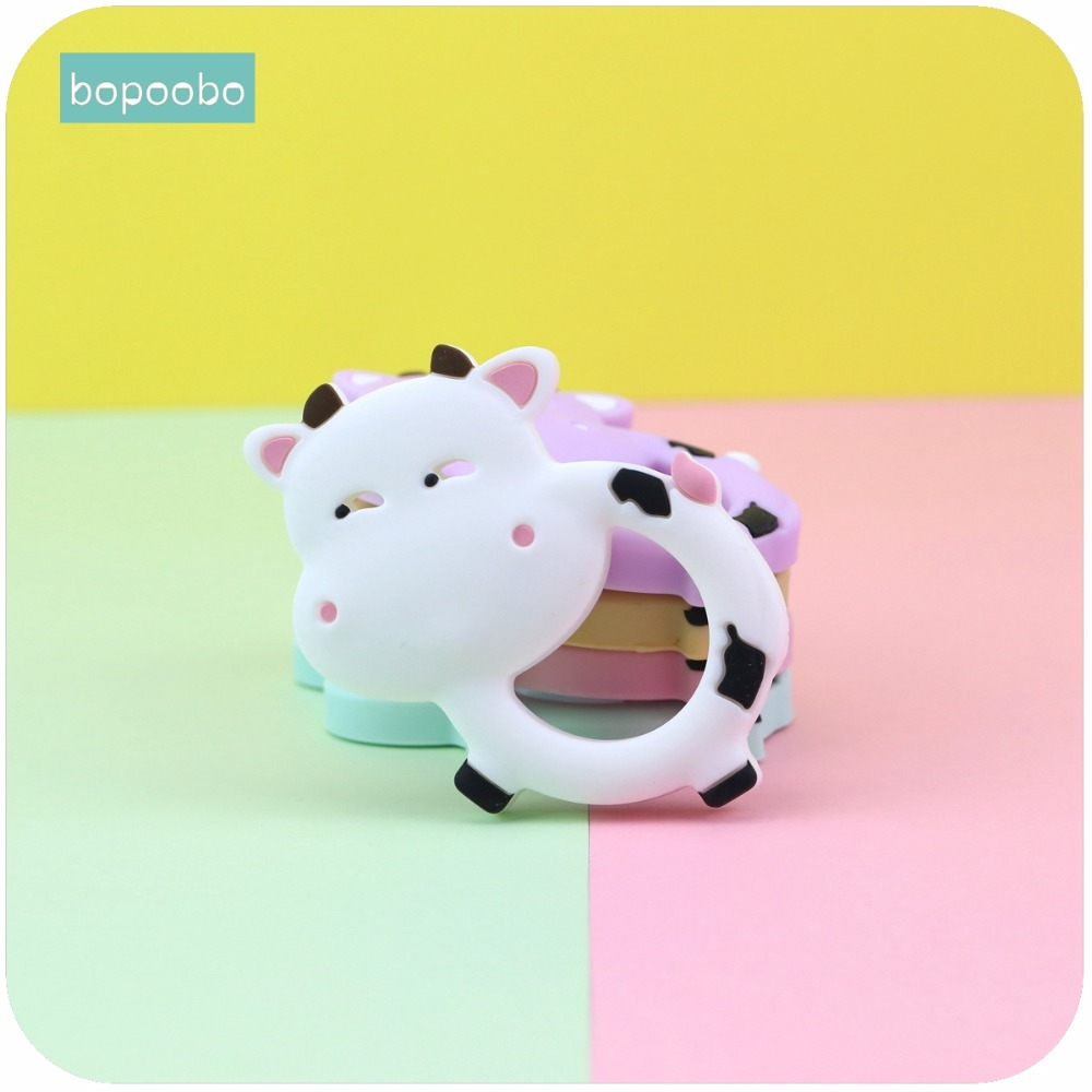 Bopoobo Baby Nursing Accessories Silicone Cows DIY Nursing Jewelry Sensory Chewing Toy Teething Accessories Baby Teether