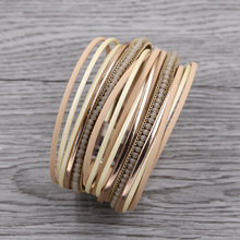 Multilayer Leather Bracelet for Women Vintage Crystal Beads Bracelets Ethnic Friendship & Bangles Femme Punk Jewelry