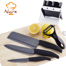 "2017 High Quality Brand New Year's Best Ceramic Black Blade Set ""4"" 5 ""6"" inch Peeler+Knife Holder Kitchen Utensil free shipping"