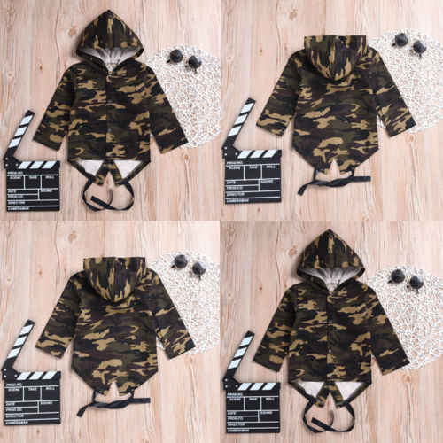 2018 nuevo bebé niños niñas de manga larga chaqueta de camuflaje con capucha abrigo de los niños de moda ropa de Niño 0-ropa de bebé 24 M