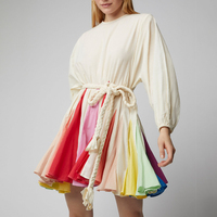 2019 New Colors Summer Women Dresses Rainbow Draped Sashes Lantern Sleeve Mini Dress Fashion Sea Beach Holiday Dress Female