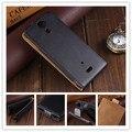 Negro de lujo del tirón del cuero cajas del teléfono móvil para sony xperia v lt25i magnética funda py
