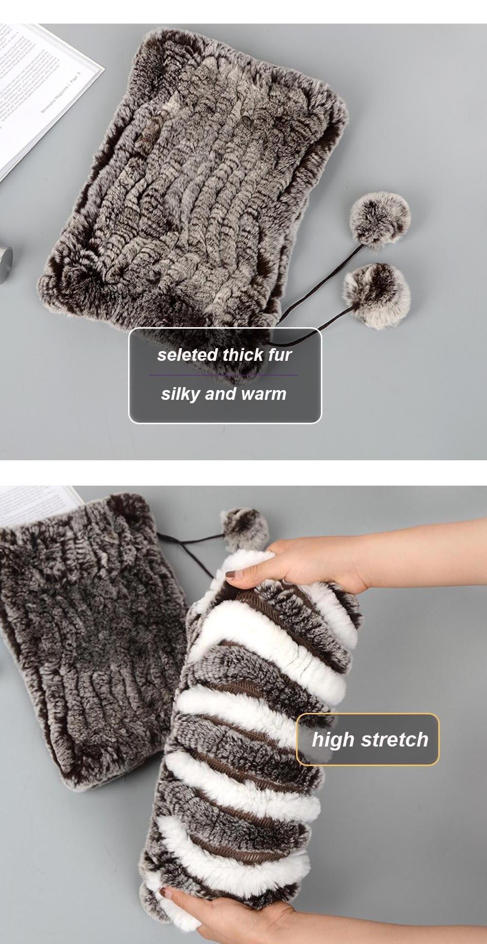 Knit rex rabbit hat neck warmer details 2