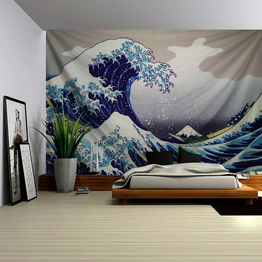 Us 12 12 5 Off Kanagawa Surf Tapestry Wall Hanging Decorative Cloth Fresco Background Wall Adornment Bedroom Curtain Fabric Wall Painting In