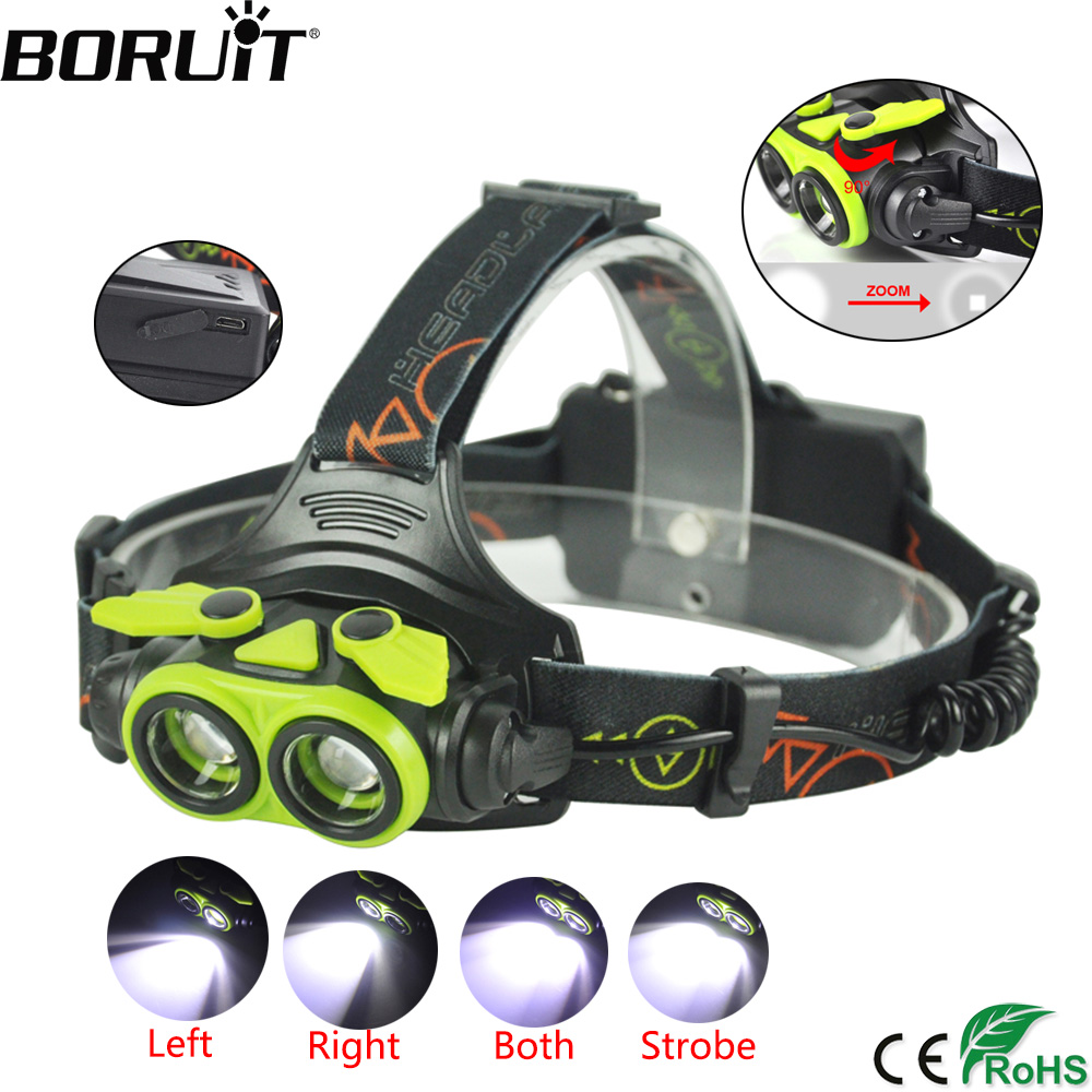 BORUiT 3000LM XM-L2 LED Headlamp 3-Mode Zoomable Headlight USB Rechargeable Head Torch Camping Flashlight Hunting 18650 Battery