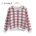 Loose Plaid Sweater Women 2016 New Arrival Winter O-Neck Women's Knitted Warm Plaid Pullovers