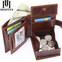 Misfit portefeuille hommes en cuir véritable poche à monnaie vintage court portefeuilles mâle en cuir de vachette portomonee porte cartes homme moraillon sac à main