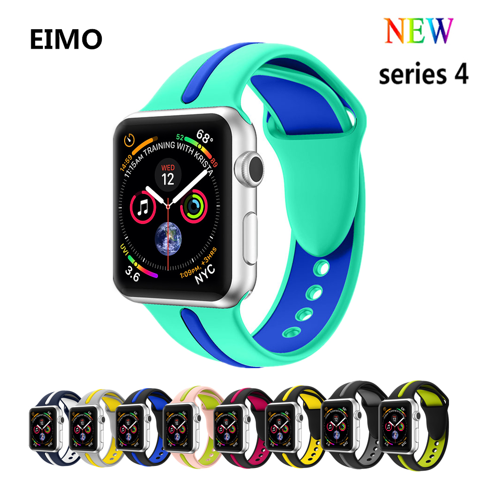 Sport silicone strap For Apple watch band 4 44mm 40mm correa Aple watch 42mm 38mm bracelet wrist Watchband rubber iwatch 4/3/2/1 цена