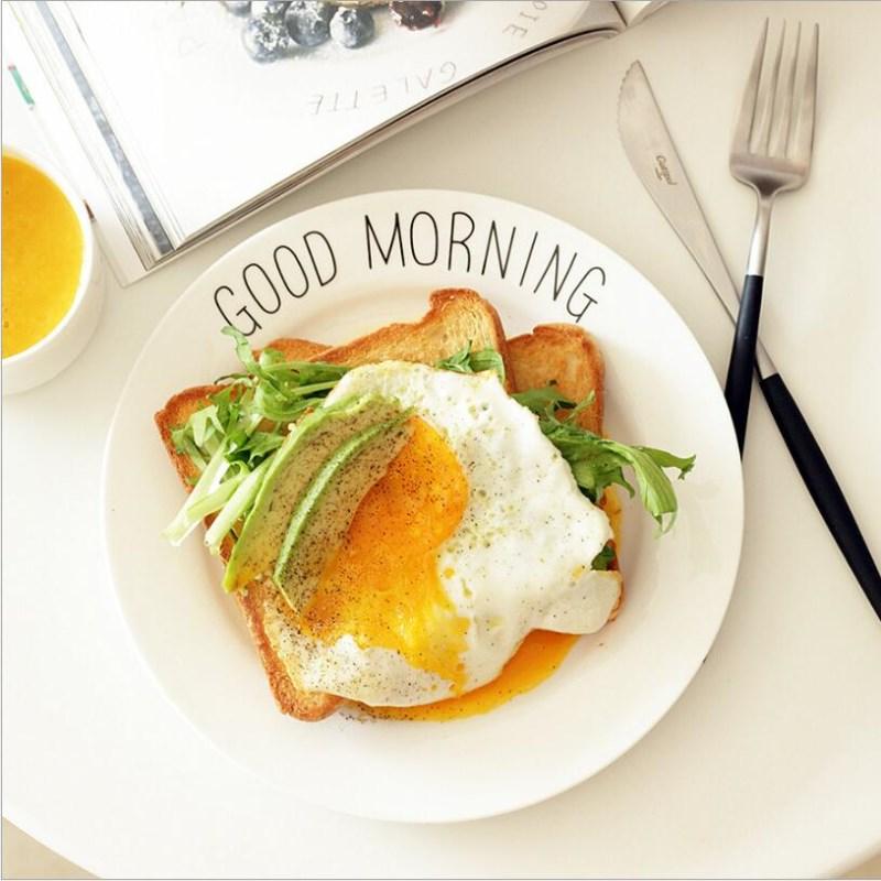 Letter Plate White Ceramic Dish 8 Inch Good Morning Tableware Nordic Creative Breakfast Salad Dish Modern Western Steak Dish