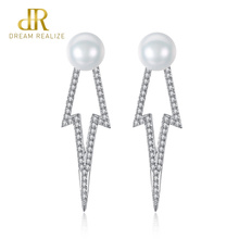 DR 7-7.5mm White and Pink Natural Freshwater Pearl 925 Sterling Silver Stud Earrings for Women Star Jewelry