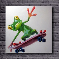 Hand Painted Colorful Cartoon Pictures Modern Abstract Animal Wall Art For Home Decoration Unframed Frog Oil