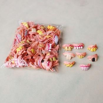 100Pcs / lot Tricky Teeth Wholesale Multi Stypes Fool's Day Funny Tricky Buck Rotten Teeth Halloween Props