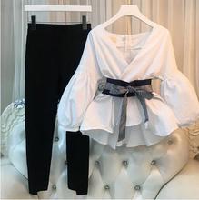 купить Plus Size 2018 Women 2 Pieces sets Women Business Suits Ladies Striped pants suit Women Tops And Split pencil pant Suit по цене 1405.53 рублей