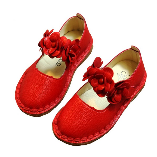 Children Girl Shoes 2017 Autumn New Fashion Flower Baby Girls leather Shoes Soft Bottom Cute Kids Infant Single Shoes