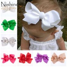 NISHINE Fashion Girls Big Bow Headband Newborn Bebe Hair Accessories Elastic Ribbon Bands Cute Baby Headbands