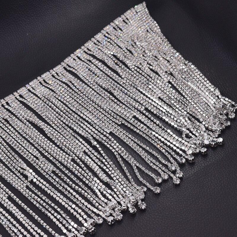 10 yards longue frange cristal strass bordure en appliqué gland strass patchs passementerie pour robe de mariée vêtements appliques-in Strass from Maison & Animalerie    3