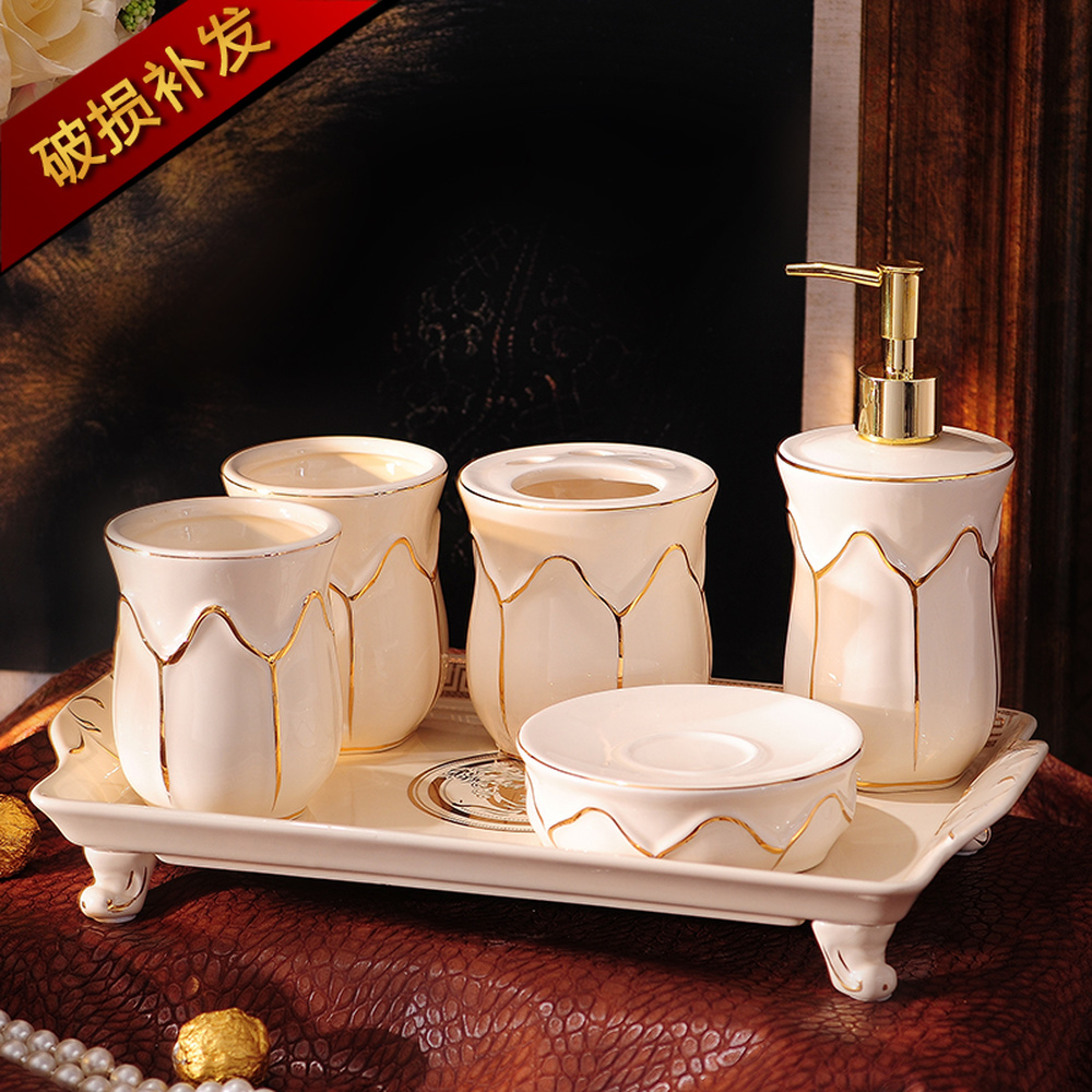 American ceramic sanitary ware cover bathroom suite wash gargle cup five times suit LO726538 simple bathroom ceramic wash four piece suit cosmetics supply brush cup set gift lo861050