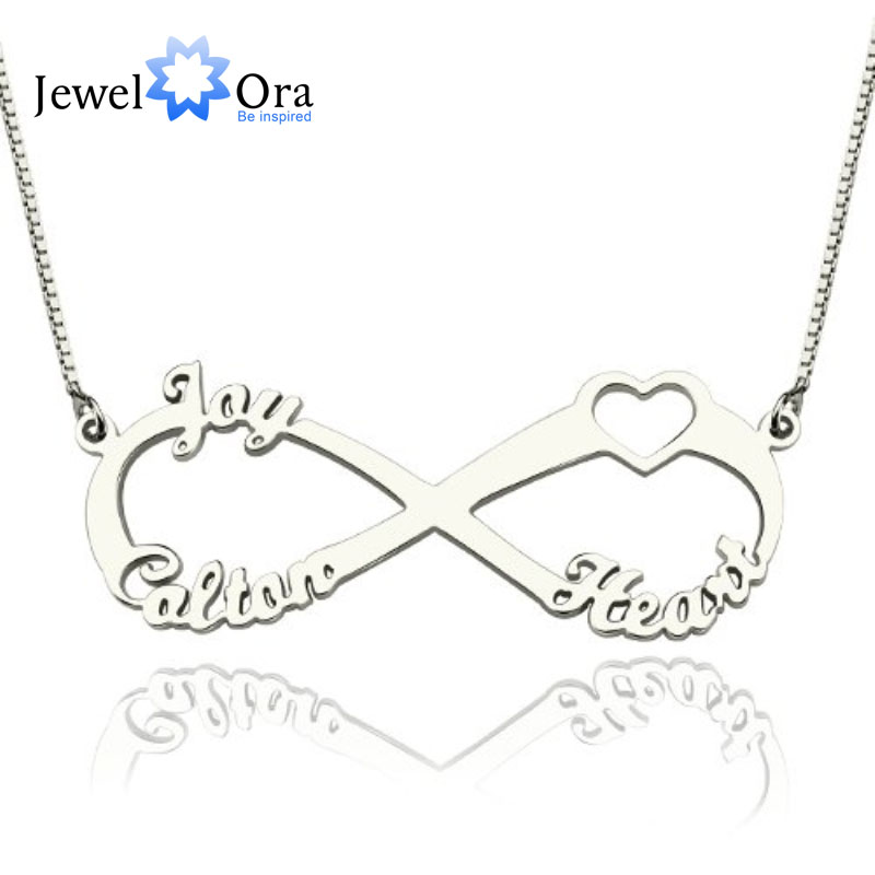 Personalized Name Necklace 925 Sterling Silver DIY Heart Letter Necklaces & Pendants Unique Birthday Gift (JewelOra NE101371) unique letter embroidery graphic hat
