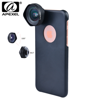 Apexel Optic Pro Lens Super Wide Angle 100 degree High Clarity Cell Phone Camera Lens Kit for iPhone X 8 More smartphones 18MM