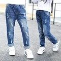 2017 весна и осень горячие моды классические детские хлопок джинсы 3-9 лет девушка чистый цвет отверстие дикие брюки