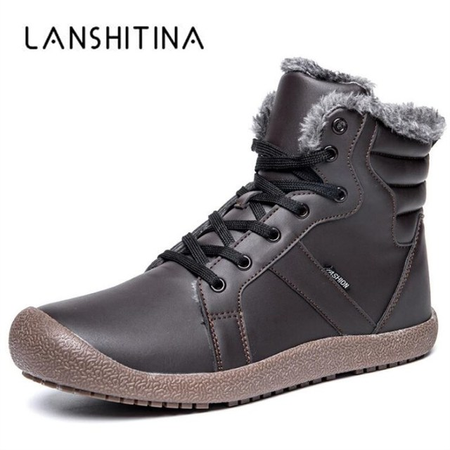 2018 Men Winter Boots Male Snow Outdoor Ankle Boots Waterproof Warm Fur Tactical Boot Leather Shoes Chaussure Homme Size 36~48